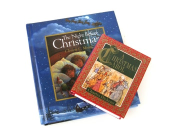 tiny  library  ...  vintage book collection  ...  2 small books   ...  christmas books
