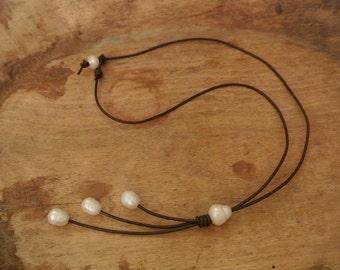 Justhipstuff Boho Freshwater Pearl Leather Necklace / Freshwater Lariat Necklace