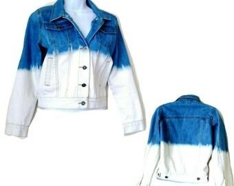 Denim Jacket - Womens - Blue Denim - Fade Out - White Denim - Size Medium - Button Front - Summer - Festival - Beach - Classis Americana