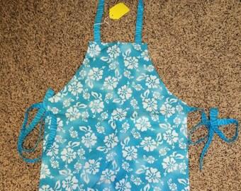"Children's Handmade Reversible Apron or Artist Smock 20"" long,Hawaii, blue hibisuscus, waves, apron, baking apron, girl clothing KBD205"