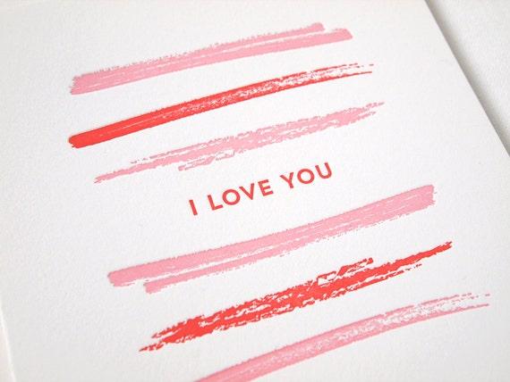 Brush Stripe I Love You Letterpress Card - Valentine's Day, Love, Anniversary