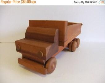 Christmas Sale Vintage Handmade Dump Truck Solid Wood Toy Truck