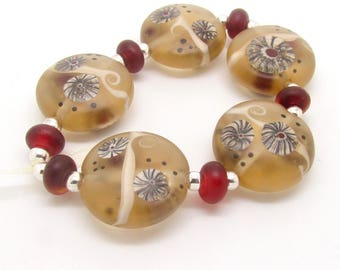 Lentil Lampwork Beads,  Lampwork Beads, Lampwork Bead Set, Lentil Beads, Glass Beads, UK, SRA