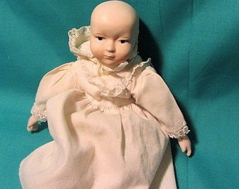 Vintage Baby Doll, Childs Toy Doll Porcelain Head, Hands, Legs and Fabric Body, Baby Doll with Bonnet, Porcelain Vintage Doll, Toy Doll