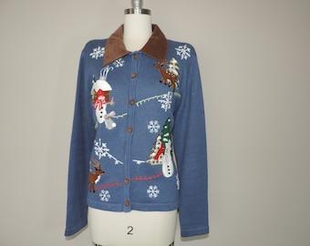 vintage ugly christmas sweater blue snowman cardigan plus size XL