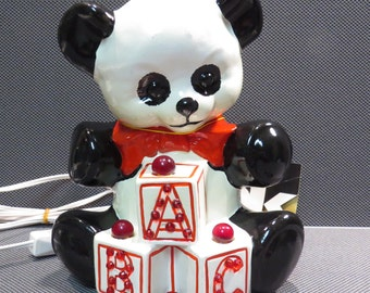 Mar-Kel Panda Bear Nursery Night Light Vintage Baby's Bedroom Lamp