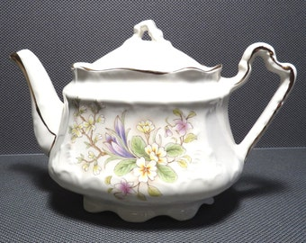 Arthur Wood #5914 Apple Blossom Crocus Floral Teapot Vintage 1940s Shabby Chic Tea Pot