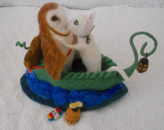 Owl and Pussy cat, Pea Green Boat,  Waldorf, nursery rhyme,Needle Felted, felted sculpture, play mat, play scape, pre school, play school
