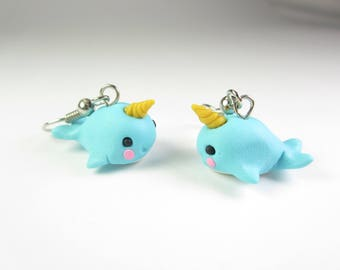 Narwhal Earrings, Narwhal jewelry, narwhal gift, cute animal earrings, polymer clay, whale earrings, whimsical, unique gift for her