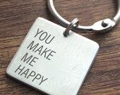 You make me Happy Keychain Personalized Valentines Day Personalized Key chain Husband Gift Christmas Mens Keychain Boyfriend Keychain