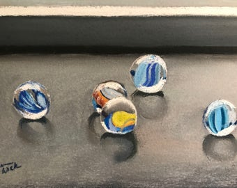 Marbles - Original Pastel Drawing by Jamies Art 5x7