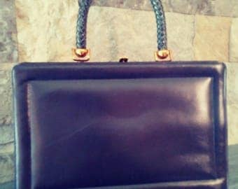 Vintage 1960s Navy Blue Handbag by Susan Gail Leather