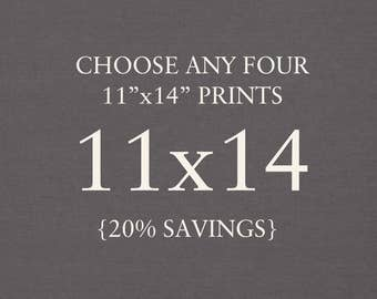 """You Choose Any Four 11""""x14"""" Photographs. Collection. 20% Savings. Affordable Home Decor. Wall Art, Gift Set."""