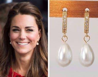 Kate Middleton White Pearl Drop Earrings Huggie Cubic Zirconia Gold
