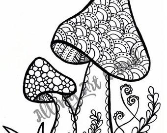 Adult Coloring Page - Mushroom - Instant Download - Zentangle - Doodle Illustration - DailyDoodler - Unique Mushroom Garden Illustration