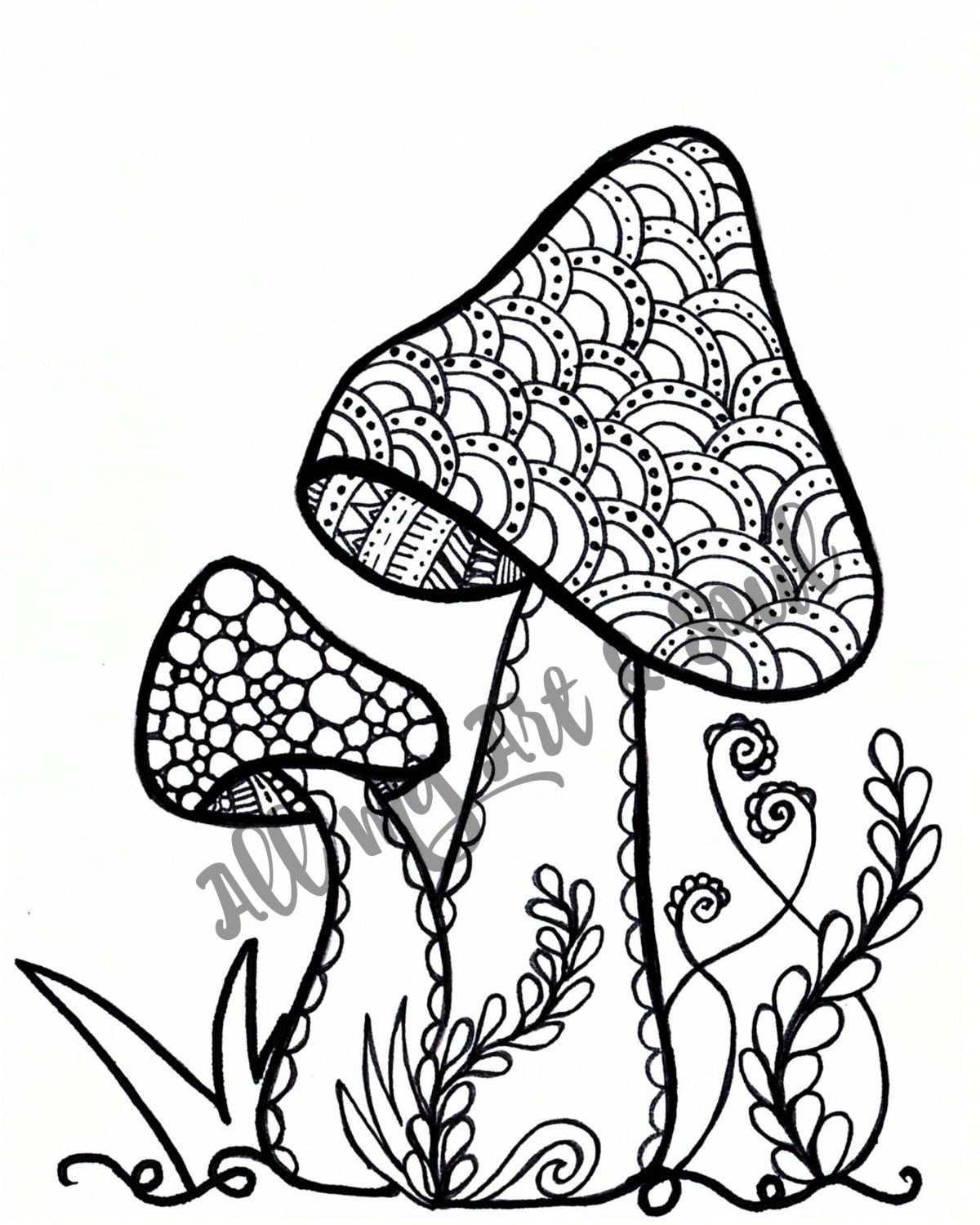 Adult Coloring Page Mushroom Instant Download Zentangle