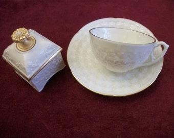 Lenox Flat Demitasse Cup & Saucer Set Reproduction of First Lenox 1889 + Trinket Box