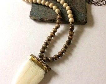 Long, Trendy, Bone, River Stone and Dzi Beaded Pendant