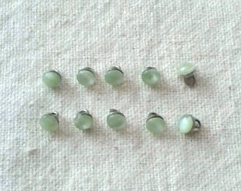 Vintage Green Shank Doll Buttons - Glass Moonstone Cabochons 4 mm - Set of 10