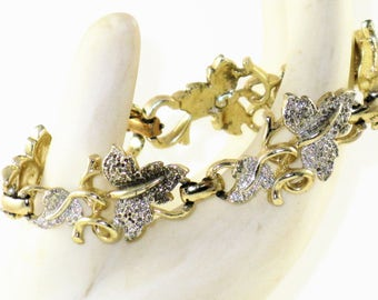 CLEARANCE SALE - Vintage Sarah Coventry Silver and Gold Tone Leaf Link Bracelet (BR-4-1)
