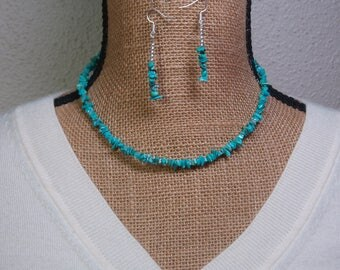 Turquoise Gemstone Chips,.925 Silver Necklace and Earrings