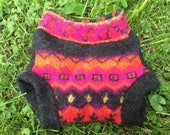 SALE!Lambswool Soaker Cover: Felted Bright Tribal, Size Medium (9-18 mo Mo)