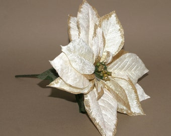 1 Jumbo Cream and Glittered Gold Poinsettia - Artificial Flowers, Holiday Flowers