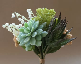 Succulent and Hydrangea Bouquet - Artificial Succulents, Bouquet
