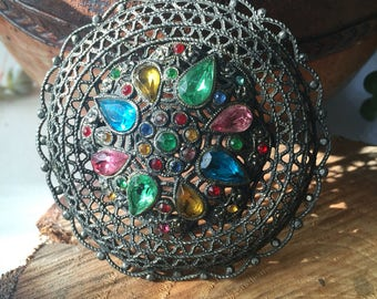 Vintage jewel tone rhinestone filigree brooch