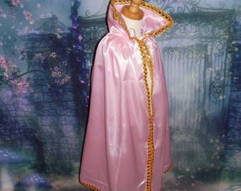 SHIPS TODAY New princess  Inspired Birthday pretend play Costume  cape girl toddler 3-6 years pink gold satin medieval