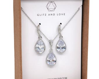 Bridesmaid Gift, Bridesmaid Jewelry Set, Bridesmaid Earrings, Necklace Set, Personalized Bridesmaid Gift, Wedding Jewelry Set, suzette