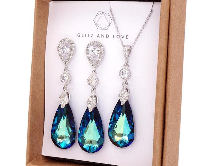 Swarovski Bermuda Blue Faceted Teardrop Crystal Earrings Necklace Jewelry , Bridal Earrings, Bridesmaid Jewelry, Weddings - Wasima