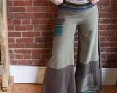 Wide leg palazzo pants with pocket- super comfy-earth tones- yoga pants- size large medium- hippue boho- long - upcycled womens clothing