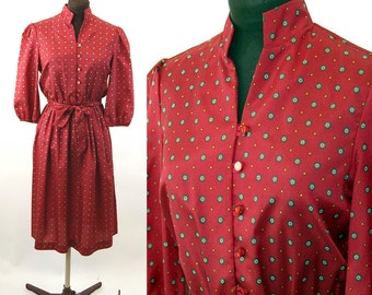 1980s secretary dress skirt dress stand up collar geometric red poly dress Size S/M