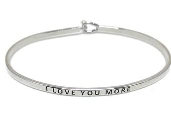 I Love You More Bracelet, Thin Silver Bangle, Simple Silver Bangle Bracelet, Silver Engraved Bangle, Handstamped, Stacking Bracelet