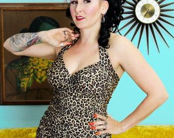 Leopard Lounge Retro Halter One Piece Dress Front Swimsuit