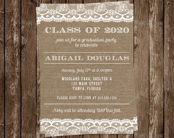 Graduation Announcements, Country Lace, Party Invitations, Burlap, Cowgirl, Set of 10 Printed Invites, Open House, Graduate, FREE Shipping