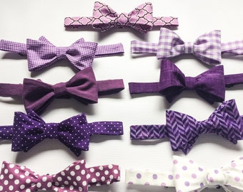 Mens Bow Ties, Mix and Match Bow Ties, Purple Bow Tie, Groomsmen Bow Ties, Purple Wedding Bow Ties, Wedding Ties, Purple Ties