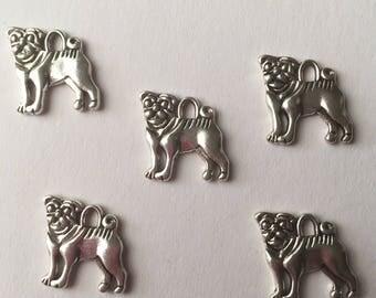 Set of 5 Tibetan silver dog charms