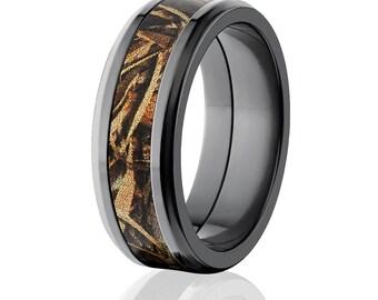 camo wedding rings - Orange Camo Wedding Rings