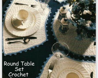 Crochet Round Table Place Mats & Centerpiece Pattern - Instant Download CR611427