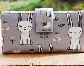 Wallet clutch,  vegan wallet, bunnies, bunny wallet, womens wallet, travel wallet, organic wallet, checkbook wallet, thin wallet
