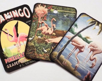Pink Flamingo Tags - Variety Set 9 - Gift Tags - Pink Bird Tags - Florida Theme - Vintage Flamingos - Waterfowl Tags - Tropical Birds