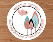 Brianna (Retro Trees and Bird) Custom Address Labels or Stickers