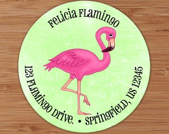 Pink Flamingo - Custom Address Labels or Stickers