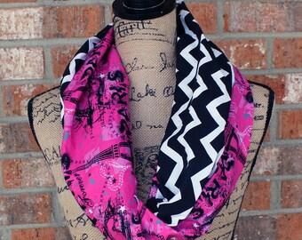 Pink Paris Chevron Women's Infinity Scarf Neck Cowl Gift Under 15 Dollars Ready to Ship