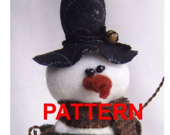 Snowman PATTERN Ornament primitive epattern Instant Download PDF Smitten Tutorial by Happy Valley Primitives