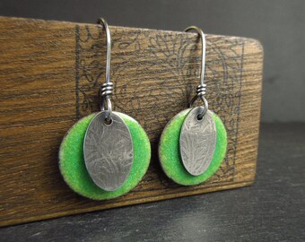 Sterling silver green enamel earrings, textured silver oval design, enamel on copper, enamel discs, copper enamel jewelry, bright green