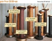SaleToday Steamer Bobbins Vintage Wooden Textile Mill Spools with Rustic Brass & Steel Ends Display Organize Ribbons Trims with Wood Bobbin
