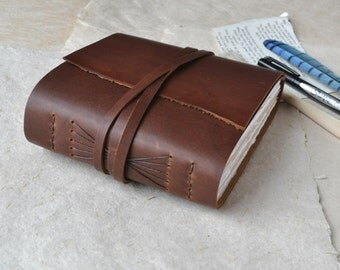 Rustic Leather Journal with Mixed Media Paper